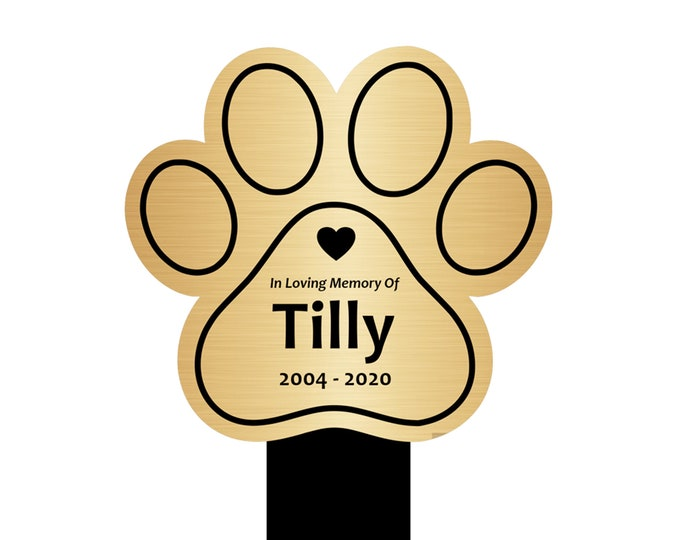 Personalised Pet Paw Print Memorial Plaque Stake - Grave Marker Outdoor Garden Waterproof (Silver / Gold / Copper / Black & White)