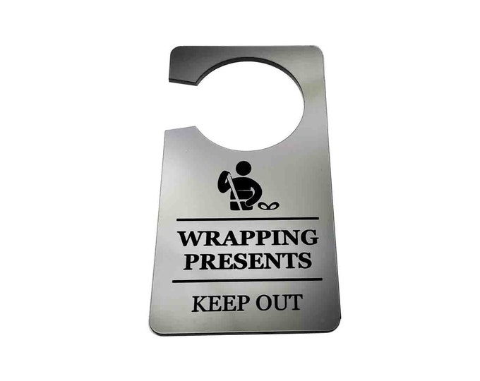 Wrapping Presents, Keep Out, Do Not Disturb - Generic, Silver, Room, Door Sign, ideal to keep kids out at Christmas Time or Fo a Birthday