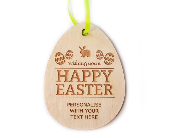 EASTER GIFT - Personalised Hanging Wooden Egg Decoration, great alternative to chocolate!