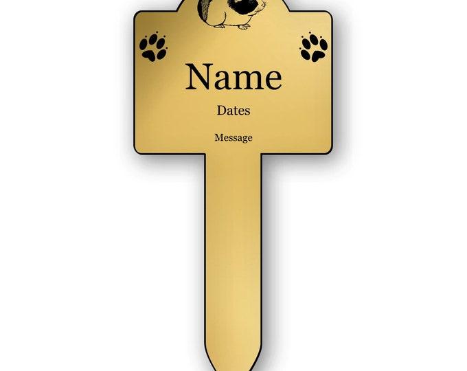 Pet Guinea Pig Memorial Stake - Personalised Engraved Metallic Silver Plaque, Waterproof, Grave Marker, Outdoor, Garden,