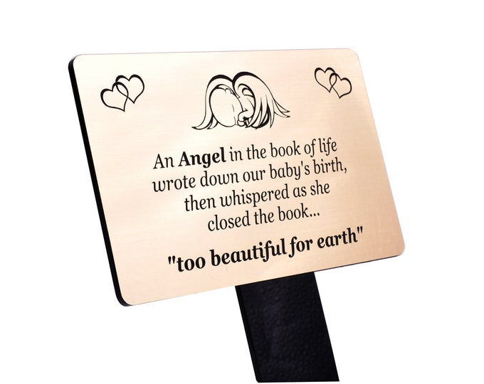 Baby Infant Memorial Plaque Tribute, Outdoor Stake -  Engraved with the 'An Angel in the Book of Life' Poem (Gold / Silver / Copper / Black)