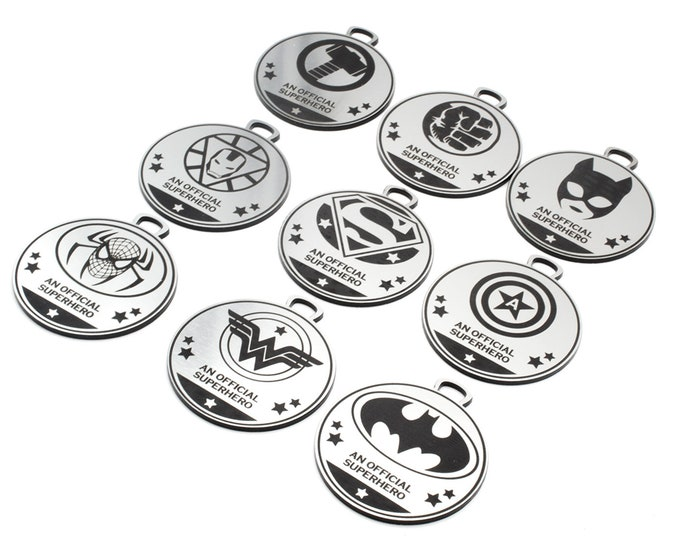 Superhero, Avenger, Medals - great for Children's Birthday Parties, made from Silver Acrylic Plastic 7cm Diameter
