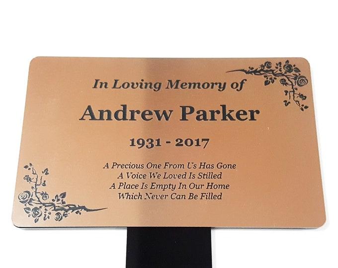 Personalised Copper Memorial Plaque Stake - Grave Marker, Outdoor Garden Waterproof