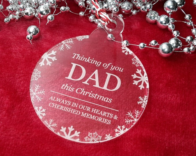 Thinking of You Dad - Christmas, Christmas Tree, Bauble, Decoration, Ornament, Vintage Christmas, Laser Engraved, Memorial, Dad Bauble,