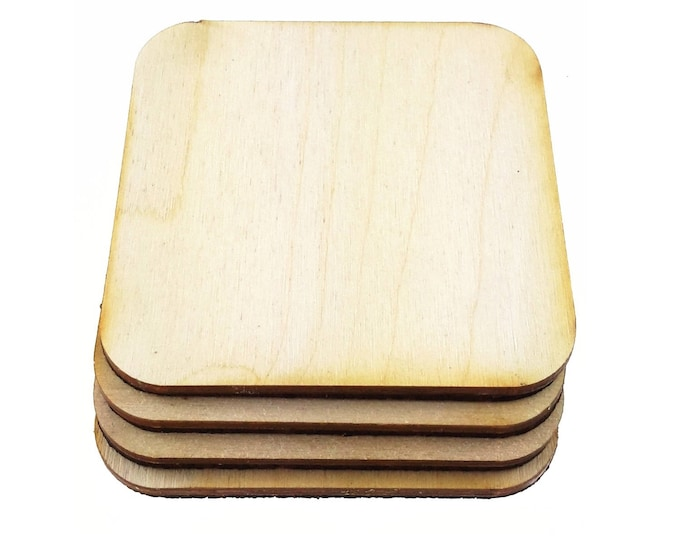 Set of 4 Blank Cork Backed Coasters - Arts and Crafts Shapes - Ideal for Projects