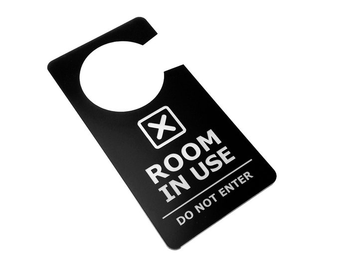 Room In Use, Room Vacant, Do Not Disturb - Stylish Black and White Acrylic Door Sign - for Home, Business, Office, Corporate, Meeting