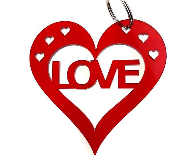 Valentines Anniversary, Love Red Heart Keyring