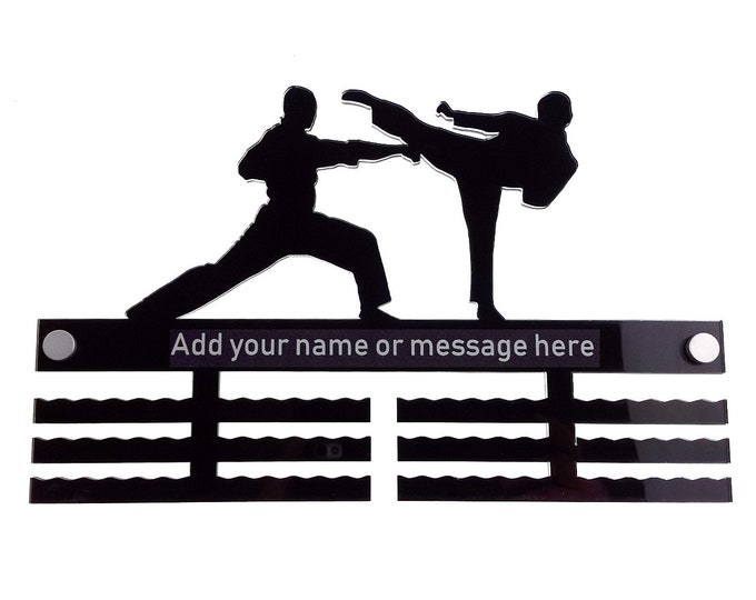 Personalised Men's Male Boys Martial Arts - Acrylic Medal Holder, Hanger, Display