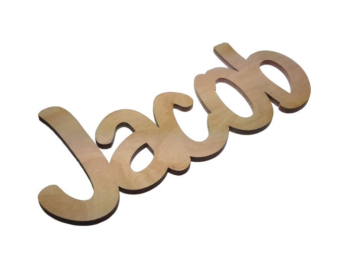 Personalised, Wooden, Laser Cut, Names - Girl's / Boy's Name / Room Name / Door Sign (max 8 letters), supplied with adhesive tape