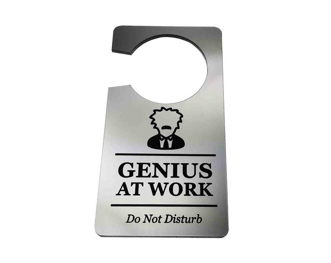Genius At Work, Do Not Disturb - Generic Silver, Room Door Sign, Ideal for use in the home or as a novelty gift