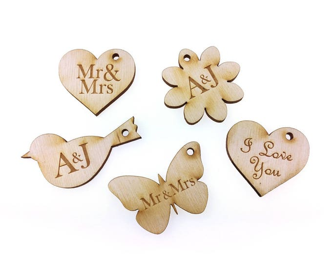 Origin - Wedding Wine Glass Charms Wood (Pack of 10) Butterfly, Bird, Heart, Flower Shapes, with personalised text