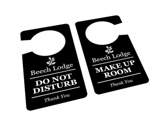 Personalised, Black and White, 'Do Not Disturb / Make Up Room', Room, Door, Sign - DOUBLE Sided, for Hotels, B&Bs and Guest houses