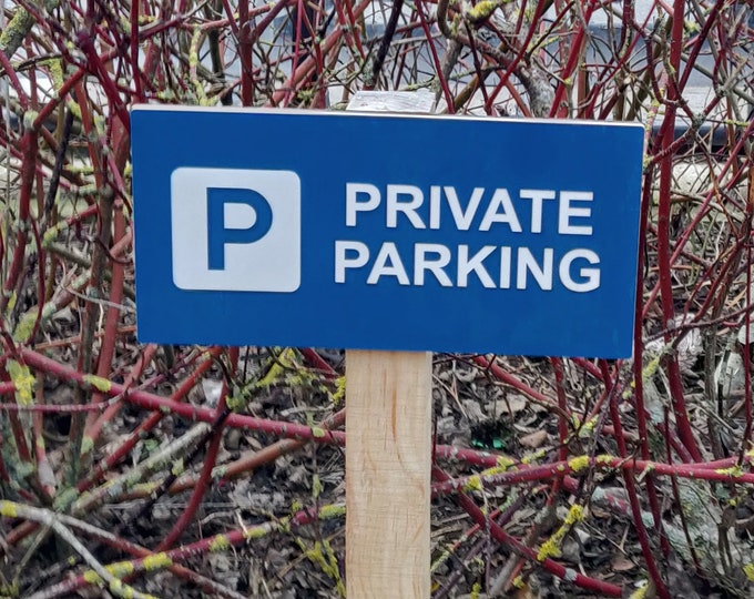 Large Size Exterior Private Parking Sign. Easy to See High Visibility Black or Blue - Available with Mounting Holes or Wooden Stake