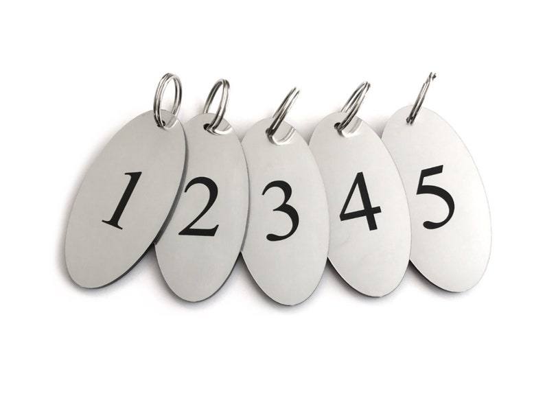 186e786b2 Key Fobs Numbers 1-5 Oval Silver Acrylic Black Engraved | Etsy