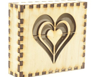 Beautiful concentric heart design wooden gift box
