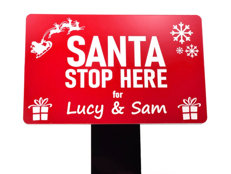 Personalised Santa Stop Here sign | Beanstalk Mums