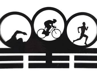 Tri Triathlon Triathlete  Mens - Acrylic Medal Holder, Hanger, Display
