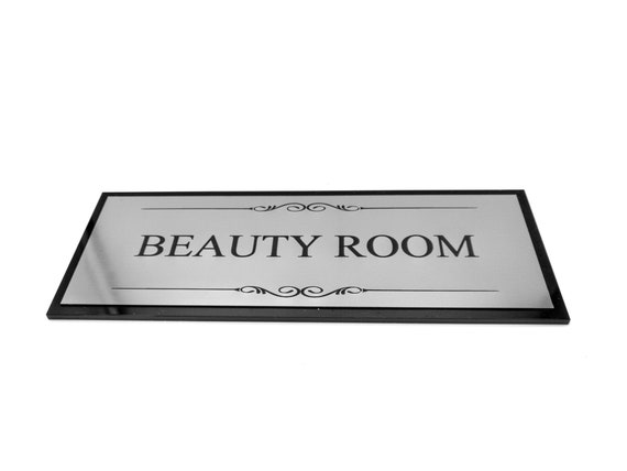 supplied with adhesive strips Size 19.5cm x 7.6cm OriginDesigned Treatment Room Black and Silver Door Sign Plaque Acrylic
