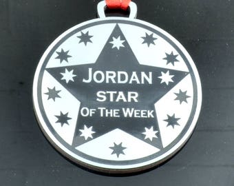 Personalised Star of the Week Medal 7cm Diameter Metallic Finish for school and workplace