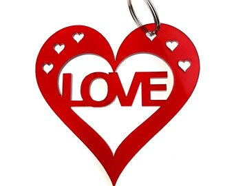 Valentines Anniversary, Love Red Heart Keyring