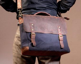 Canvas Laptop Bag Man, Men Bag, Waxed Canvas Bag, Laptop Bag, Waxed Bag, perfect for Thanksgiving Day Gift