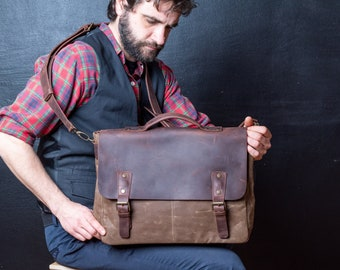 Mens Leather Briefcase, Waxed Canvas Courier Bag, Canvas Briefcase, perfect for Thanksgiving Day Gift