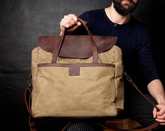 Canvas Laptop Bag, Men Bag, Waxed Canvas Bag, Men Laptop Bag, Canvas Men Bag, Waxed Bag