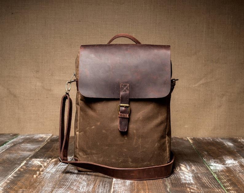 e658eac2a Man Bag made of Waxed Canvas, Crossbody Bag for Man, Canvas Man Bag,  Leather Man Bag