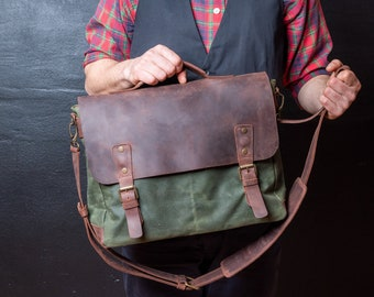 Mens Messenger Bag, Leather Messenger Bag, Canvas Messenger Bag, perfect Christmas Gift for Men