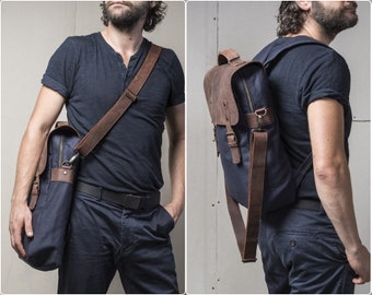 Personalized backpack for men, water-repellent waxed canvas and leather, 2 in 1 bag laptop compartment and shoulder strap for Thanksgiving