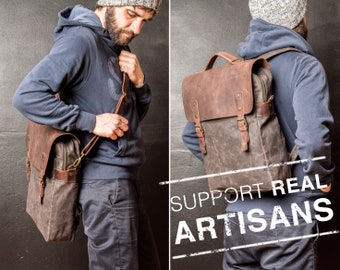Mens Shoulder Bag, Mens Handbag Shoulder Strap, Waxed Canvas Handbag, perfect for Thanksgiving Day Gift