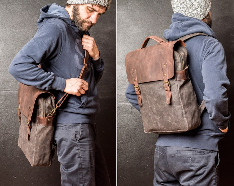 Waxed Canvas Backpack Leather and Travel Bag Weatherproof image 0