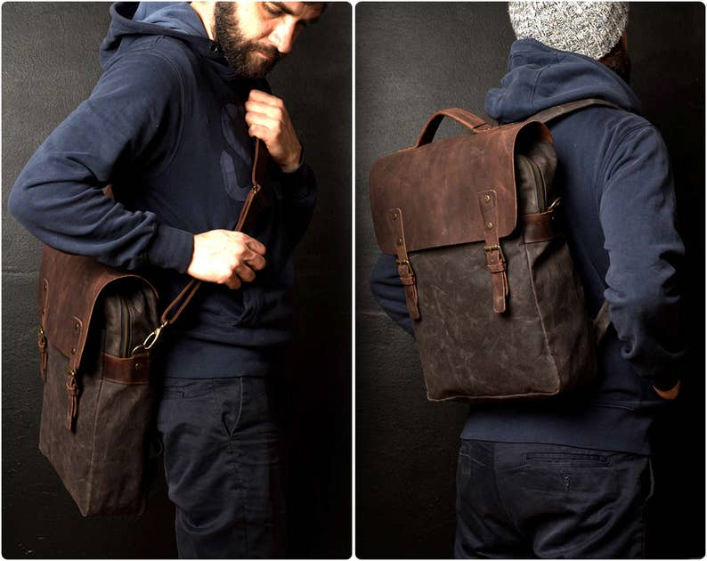 Waxed Canvas Backpack Canvas Bag Leather Backpack Travel image 0