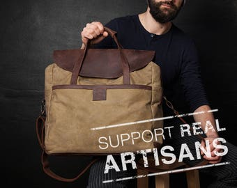 Canvas Laptop Bag, Men Bag, Waxed Canvas Bag, Men Laptop Bag, Canvas Men Bag, Waxed Bag