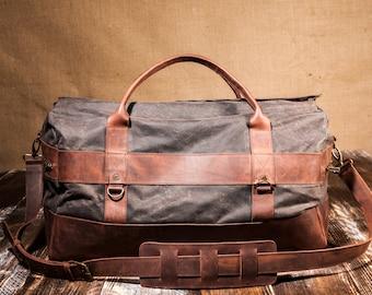 Mens Weekender Bag, Travel Bag for Men, Canvas Weekender, Mens Travel Bag, perfect Christmas Gift for Men