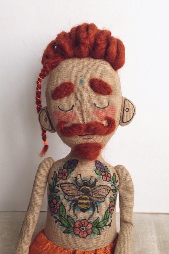Muñeca De Trapo Baby Beardy Con Tatuajes El Bigote Y Temores Etsy