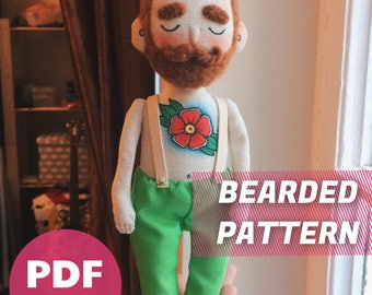 PDF tutorial #4 + patterns for printing - how to make a simple Bearded Man with closed eyes