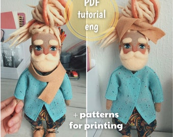 PDF tutorial #9 +patterns - How to create Bearded Man with dreads and tattoo