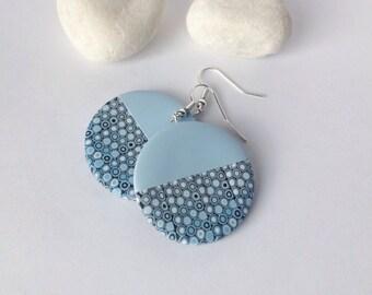 Polymer  Clay Earrings , Modern earrings , Ombre earrings, Geometric earrings, Minimalist earrings ,Blue earrings, Round earrings