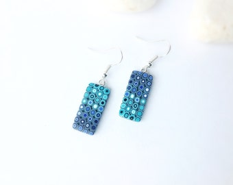 Blue Turquoise earrings , Polymer Clay Earrings, Modern earrings , Dangle drop earrings , Minimalist earrings , Statement earrings , Fashion