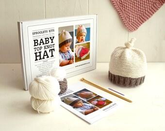 Baby Hat Knitting Kit in Soft Merino / Pure merino yarn / Learn to knit / Easy knitting kit / Baby shower gift / Baby announcement