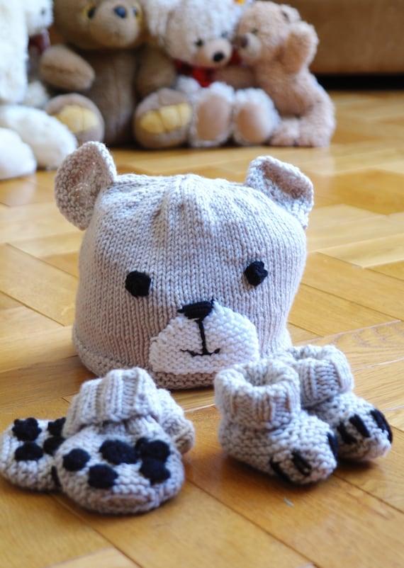 Easy Baby Hat Booties Mittens Knitting Pattern Beginner