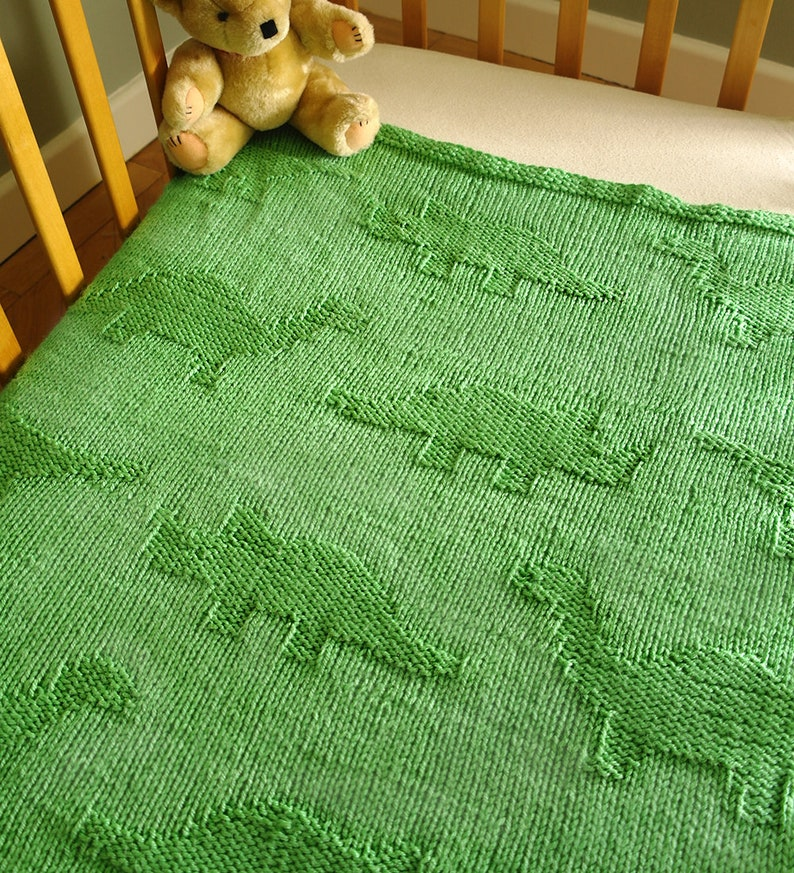 Easy baby blanket knitting pattern / Dinosaur baby blanket