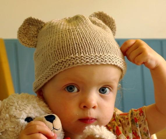 d butant tricot kit bonnet de b b ours en peluche b b etsy. Black Bedroom Furniture Sets. Home Design Ideas