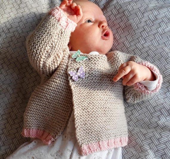 Easy Baby Cardigan Knitting Pattern Knitting Pdf Download Etsy