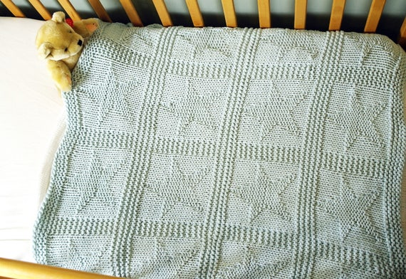 Easy Baby Blanket Knitting Pattern Star Pattern Blanket Etsy