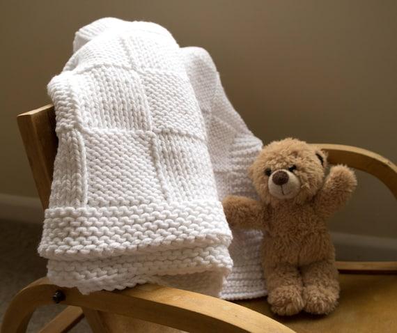 Easy baby blanket knitting pattern / Basket weave blanket /