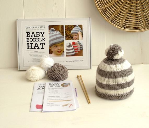 Beginner Baby Hat Knitting Kit   Baby bobble hat   Easy baby  5107214c1fc