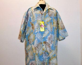 dac4ddb1 Vintage Hawaiian Shirt 90s Mens Aloha Shirt NOS XL