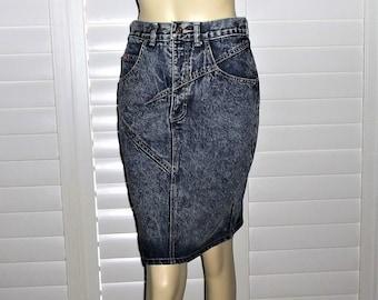 442d80053 Vintage Denim Mini Zena 80s Acid Wash Jeans Skirt W28